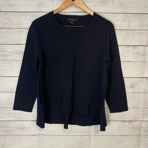 Ann Taylor Navy High Low Mixed Material Sweater L